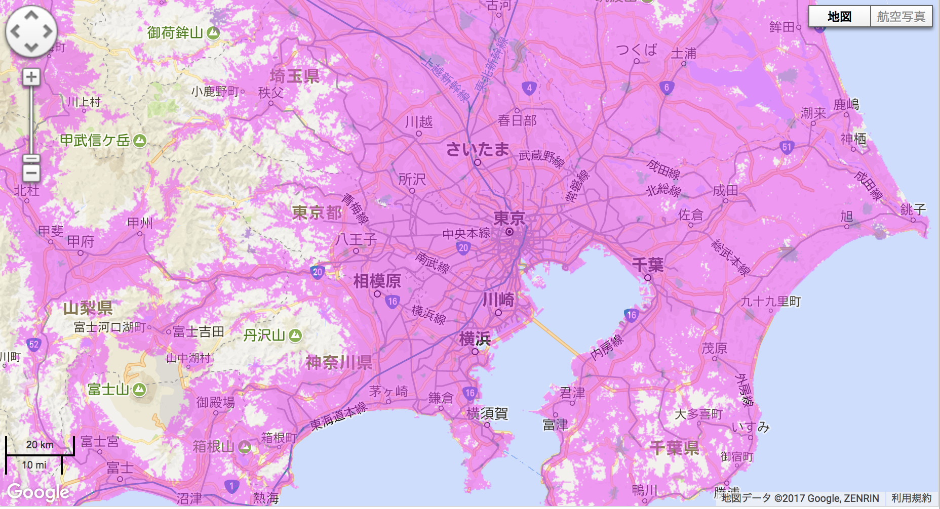 WiMAXの対象エリア地図。よほどの山間部でないかぎりエリア内となっている。