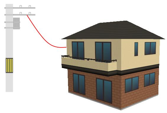 電柱から一軒家に光回線が取りこまれているイラスト。