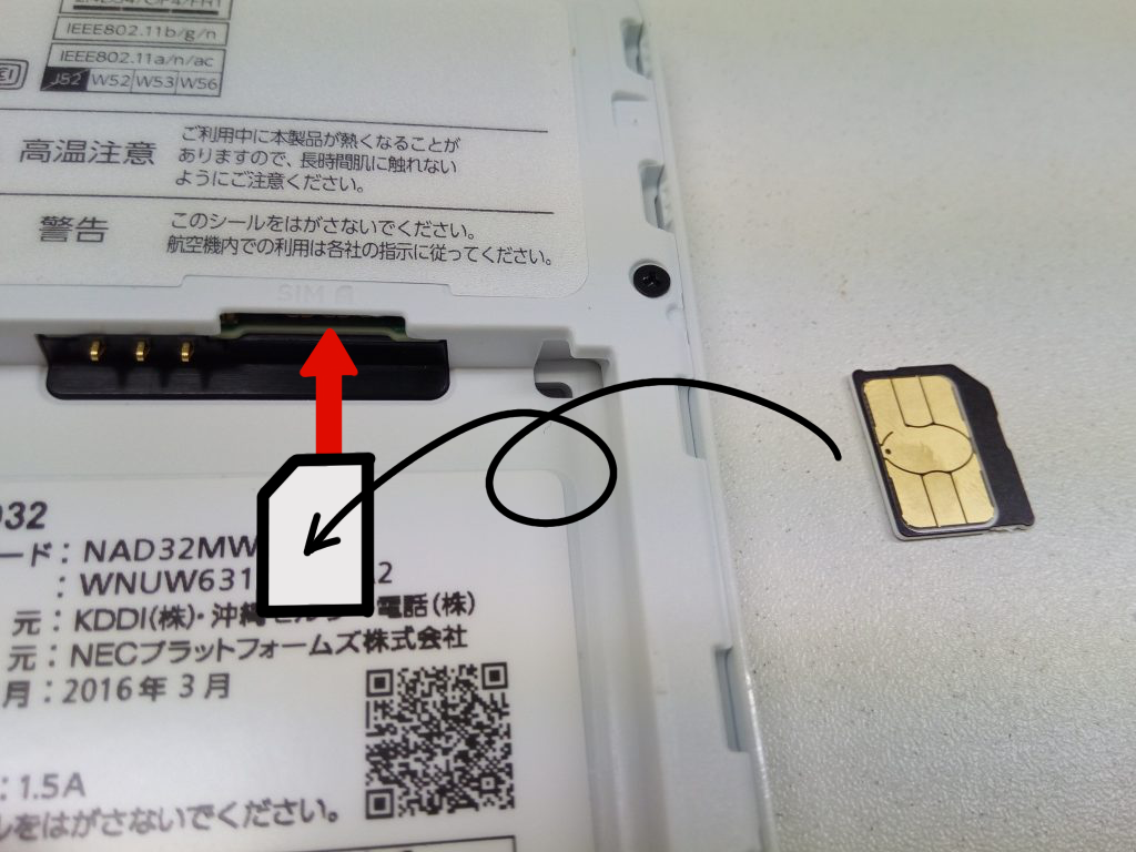 so-net WiMAX本体のSIM差込口写真