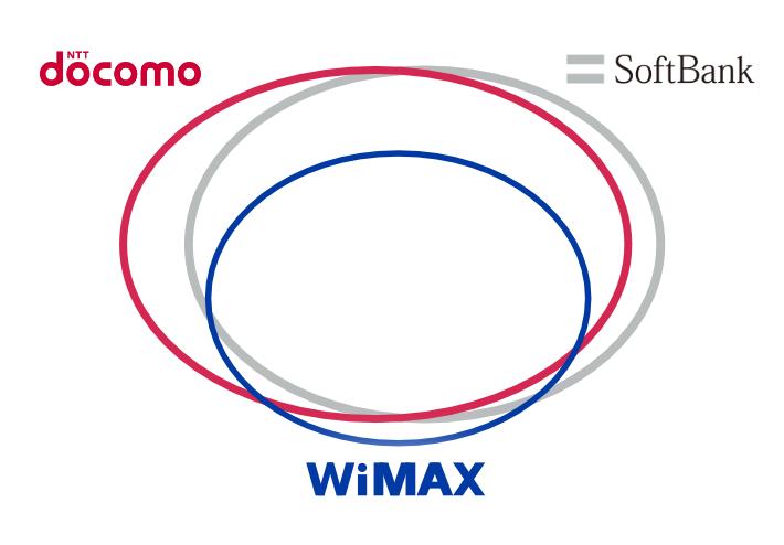 docomo/softbank/wimaxのエリア関係図