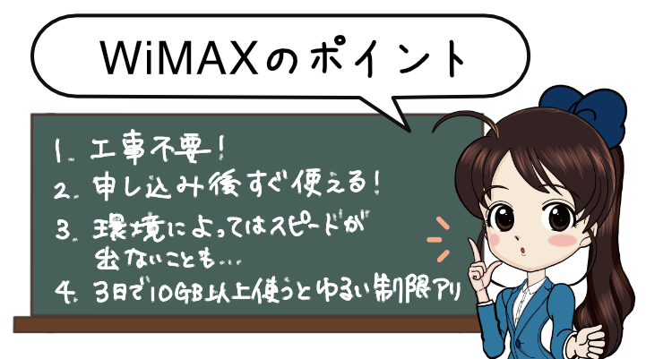 WiMAXは工事不要。申し込み後すぐ使える。環境によっては遅くなる。3日で10GBのゆるい制限あり。