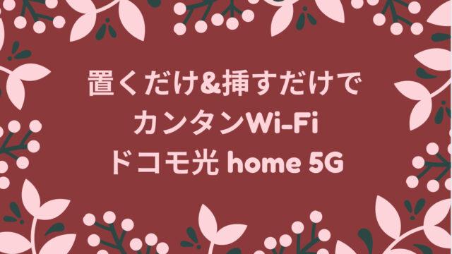 置くだけ&挿すだけでカンタンWi-Fiドコモ光home 5G