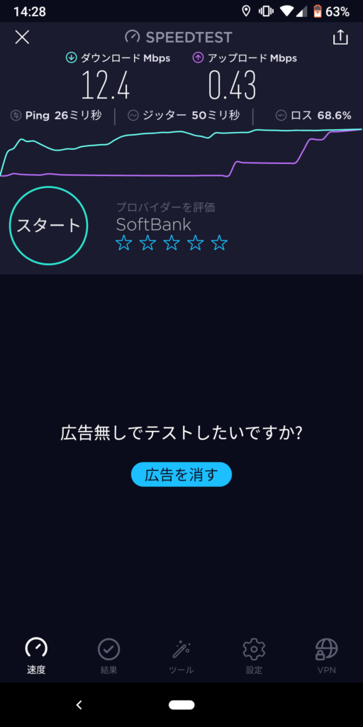 スピードテスト結果画像。ダウンロードは12.4Mbps。アップロードは0.43Mbps。