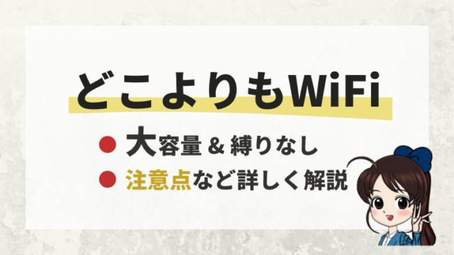 どこよりもWiFiは大容量&縛りなし。注意点など詳しく解説