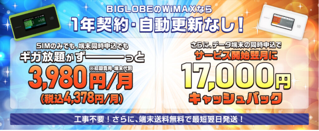 biglobe wimax LP画像